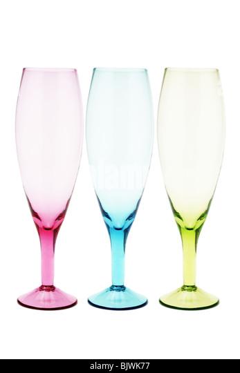 Drei Farben Weingläser auf weißem Hintergrund Stockbild