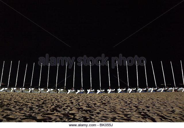 Segelboote am Strand Stockbild