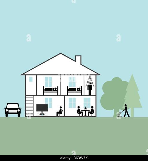 Vektor-Querschnitt durch ein Einfamilienhaus Stockbild