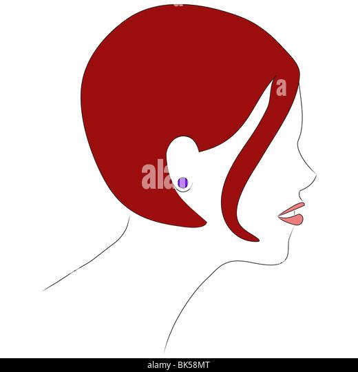 Ein Profil Bild eines Mädchens mit kurzen roten Haaren. Es getan in der Art einer 1060s Zeitschrift Illustration. Stockbild