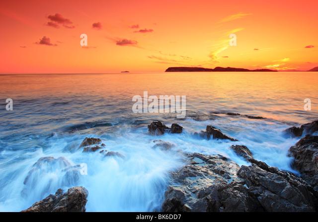 Sonnenuntergang von Dubrovnik, Kroatien Stockbild