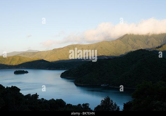 Queen Charlotte Sound, Luftbild Stockbild