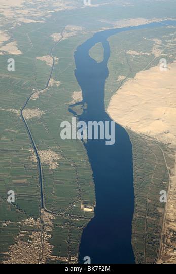 Luftaufnahme der Nil bei Assuan Stockbild