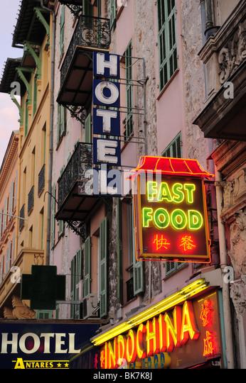 Europa Frankreich Nizza Cote d ' Azur Provence Zeichen für chinesische Fast-Food und hotels Stockbild