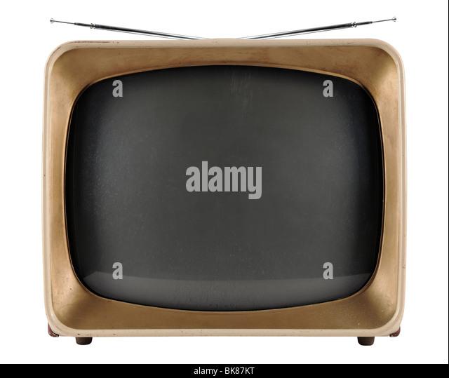Vintage TV aus den 1950er Jahren isoliert auf weißem Hintergrund - mit Beschneidungspfad Stockbild
