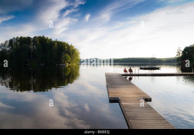 See im Südwesten von Schweden, Skandinavien, Europa Stockbild