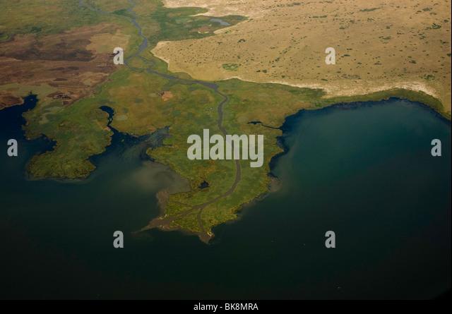 Fluss-Delta, Luftaufnahmen Stockbild