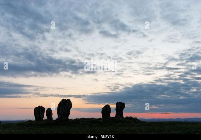Duddo Stone Circle, Northumberland, England, Vereinigtes Königreich. Auch bekannt als Duddo fünf Steinen Stockbild