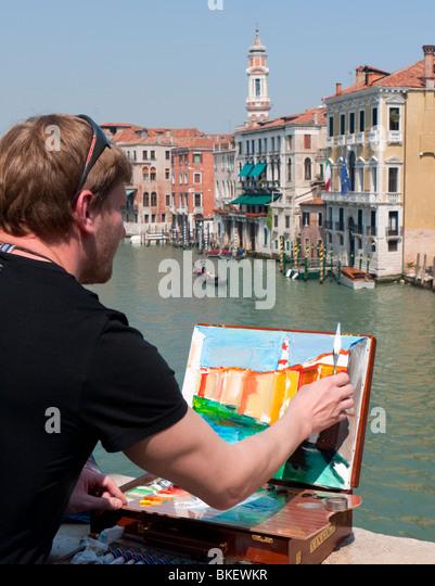 Künstler-Malerei-Szene neben Canal Grande in Venedig Stockbild
