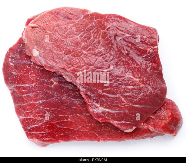 Rohes Fleisch auf weißem Hintergrund Stockbild