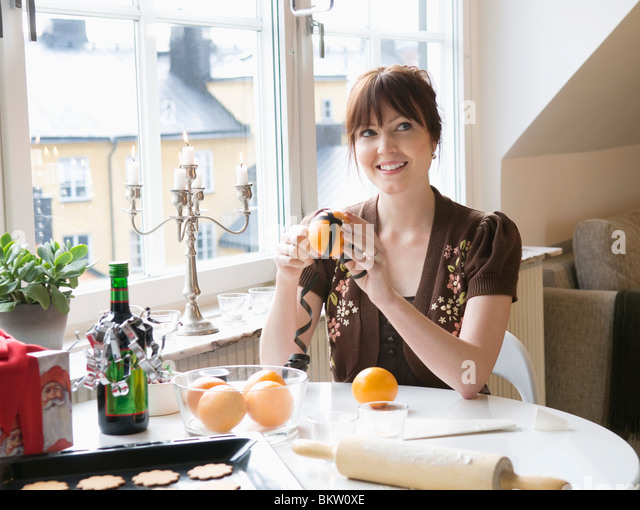 Frau Orange Dekoration Stockbild
