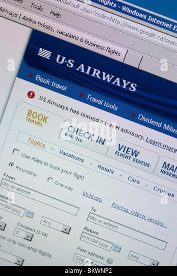 US Airways Reise-website - Stock-Bilder