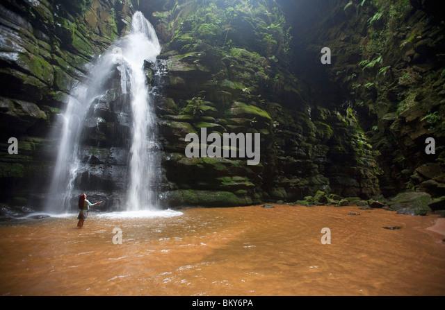 Eine Frau beobachtet einen Wasserfall in Brasilien. Stockbild