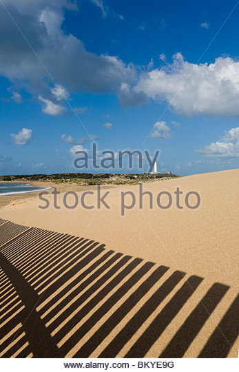 Sanddünen rund um den Leuchtturm am Cabo de Trafalgar, Provinz Cadiz, Andalusien, Spanien Stockbild