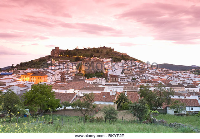Castel von Aracena am Abend, Provinz Huelva, Andalusien, Spanien Stockbild