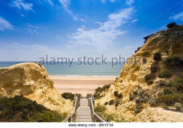 Mazagon, Playa de Mazagón, wenige Schritte vom Hotel Parador de Mazagón an den Strand, Provinz Huelva, Stockbild