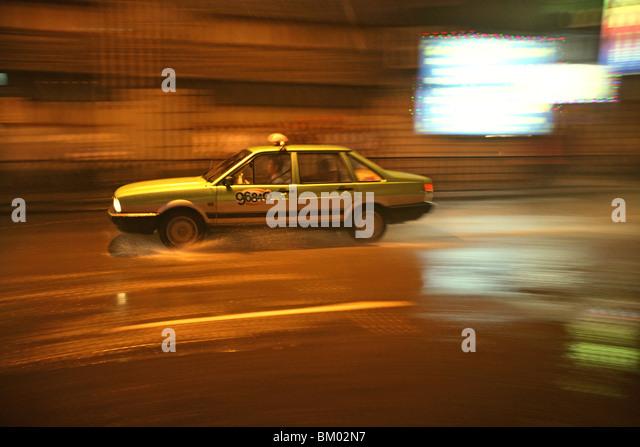 Shanghai, Taxi, Regen, Wasser, Bewegung, unscharf Stockbild