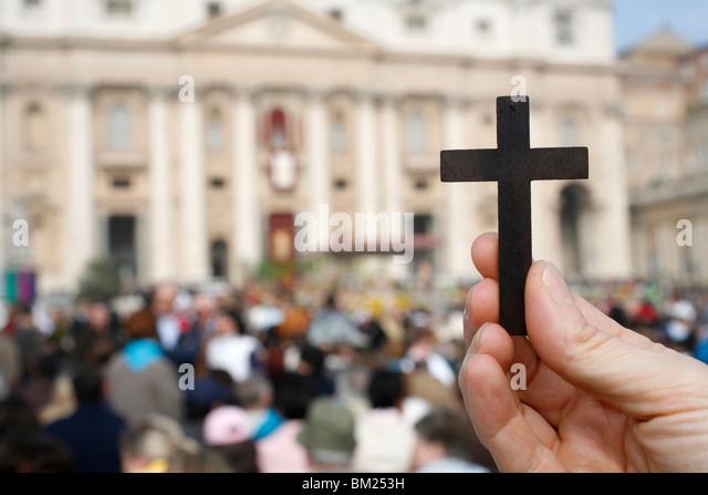 Katholiken bei St. Peter, Vatikan, Rom, Latium, Italien, Europa Stockbild
