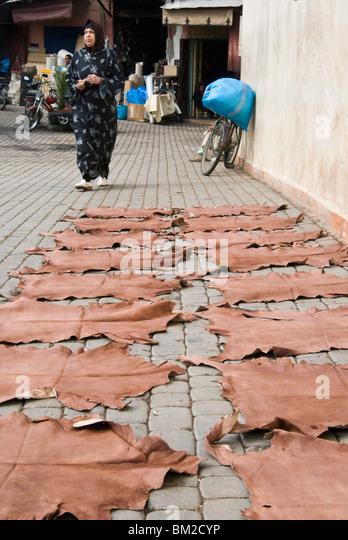 Gefärbte Leder verbirgt Trocknung in der Straße in den Souk, Medina, Marrakesch (Marrakech), Marokko Stockbild
