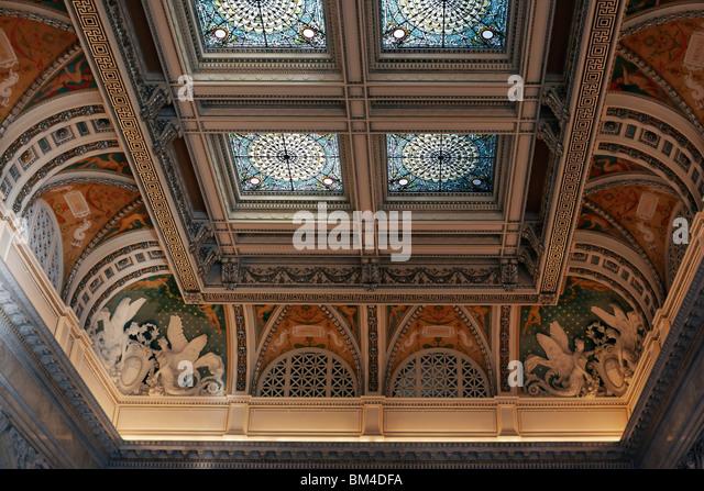 Eine Detailansicht der gewölbten Decke der Bibliothek des großen Kongresssaal, Washington, DC. Stockbild