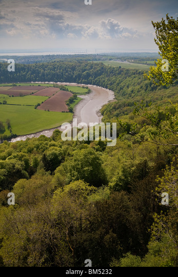 BLICK VOM EAGLES NEST VALLEY VIEW POINT OVER RIVER WYE WYE Stockbild