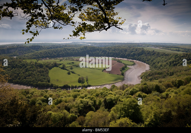 BLICK VON DEN EAGLES NEST VALLEY VIEW POINT OVER RIVER WYE WYE Stockbild