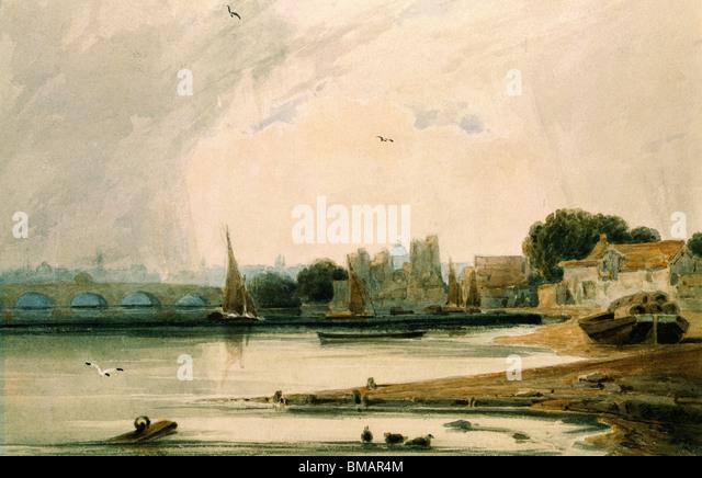 Lambeth Palace und Westminster Bridge, durch F.L.T. Francia. London, England, 19. Jahrhundert Stockbild