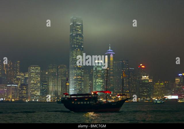 Aqualuna Junk, Central Business District, Hong Kong, SAR China Stockbild