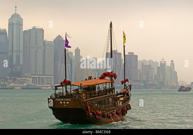 Aqualuna Junk, Victoria Harbour, Hongkong, SAR China Stockbild