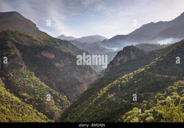 Blick entlang der Viros Schlucht in der Mani Halbinsel Peloponnes Griechenland Stockbild