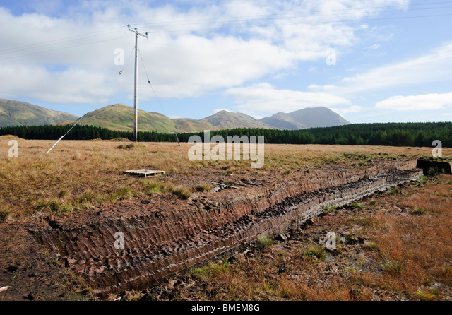Torf Ausbeutung, N59, County Galway, Provinz Connacht, Irland Stockbild