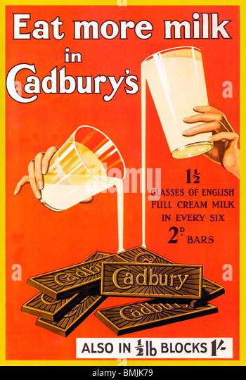Essen Sie mehr Milch In Cadburys, 1920er Jahre Poster für die englischen Schokoriegel und Blöcke Stockbild