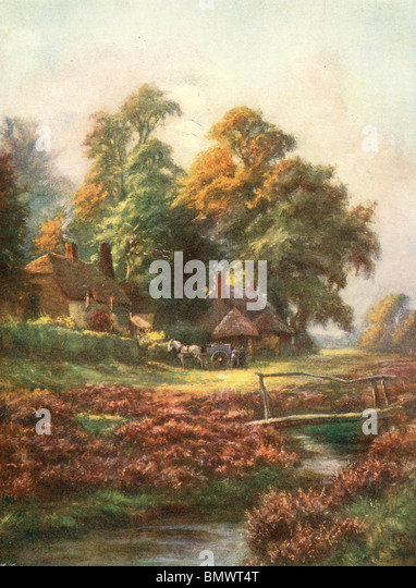 Herbst in einem Dorf in Hampshire Stockbild