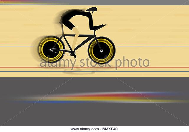 Abbildung eines Radfahrers Stockbild