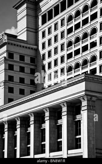 Geometrisch abstrakten Architektur. Schwarz und weiß. Stockbild