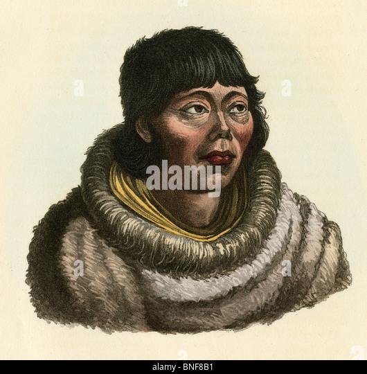 """1842 handkolorierten Kupferstich von Dr. Prichard Natural History of Man, """"Kamtschadale."""" Stockbild"""