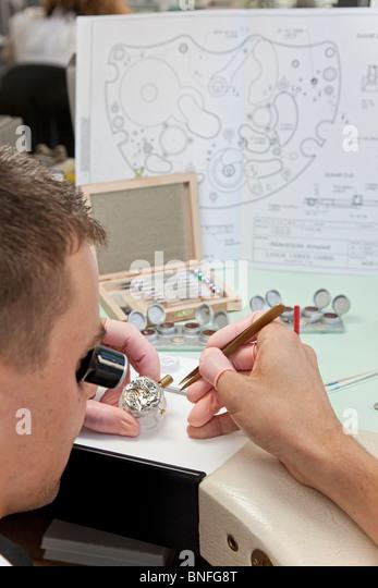 Lange Und Soehne GmbH: Herstellung für kostbare Uhren in Firmenkomplex, Deutschland Stockbild
