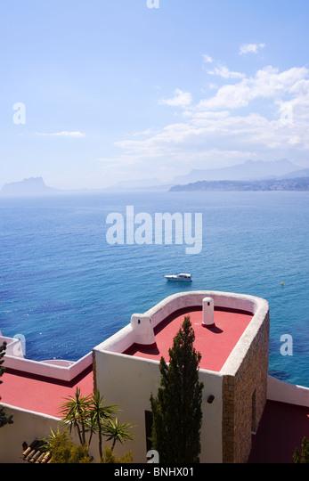 Moraira Architektur und Mittelmeer in Alicante Spanien Stockbild