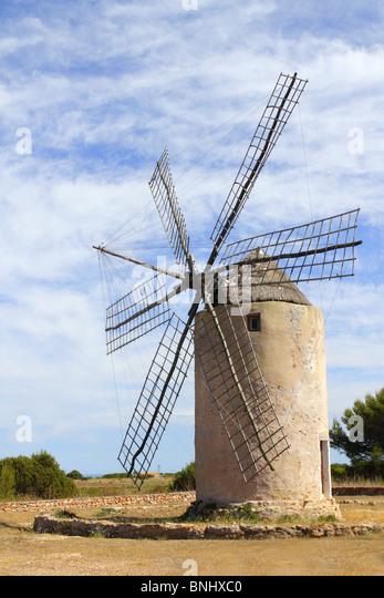 Salz Windmühle traditionelle Formentera Ibiza Balearen Stockbild