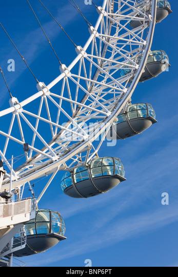 Nahaufnahme des London Eye, London, Vereinigtes Königreich Stockbild