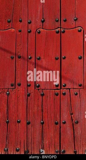 Rote Tür Andalusien Spanien Stockbild