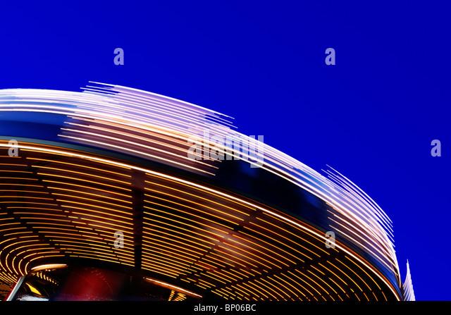 Bewegungsunschärfe auf einem Karussell auf Boston Common Stockbild