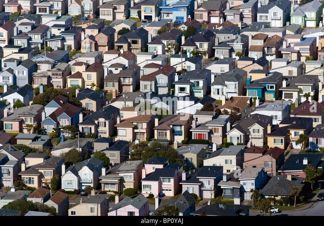 Luftbild oben Wohngegend Westlake Daly City, Kalifornien Stockbild