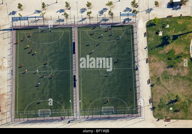 Fußball-Felder, Santiago de Chile-Südamerika - Antenne Stockbild