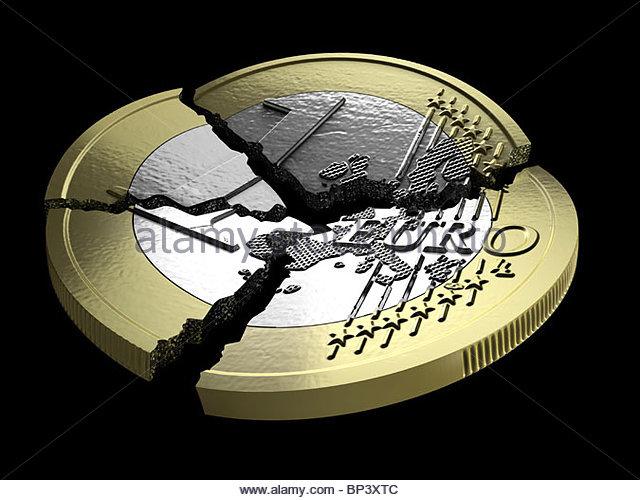 Ein ein-Euro-Münze in mehrere Teile zerlegt Stockbild