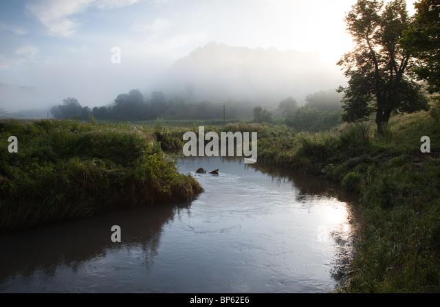 Ein nebliger Feld mit einem schönen Bach Stockbild