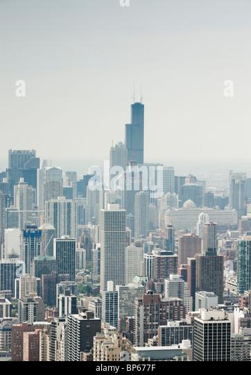 Luftaufnahme der Innenstadt von Chicago Stockbild