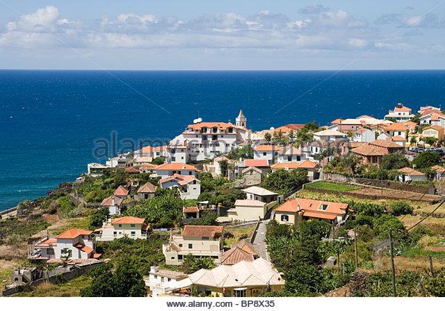 Blick über die Stadt, Jardim Do Mar, Madeira, Portugal Stockbild