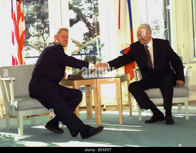 Boris Jelzin und Bill Clinton Stockbild