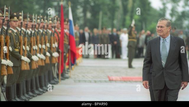 U.S.Defence Verteidigungsministers Donald Rumsfeld in Moskau. Stockbild